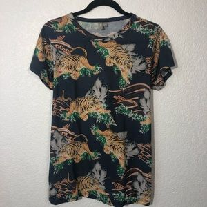 ASOS Blue Tiger Shirt Size US 8